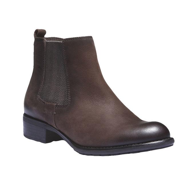 Kožená obuv v Chelsea střihu bata, hnědá, 596-4101 - 13