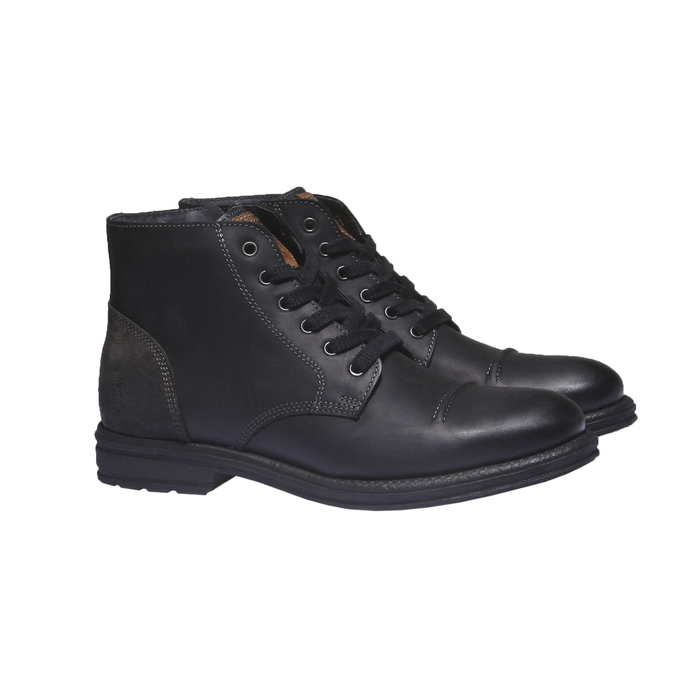 Ležérní kožená obuv bata, černá, 894-6555 - 26