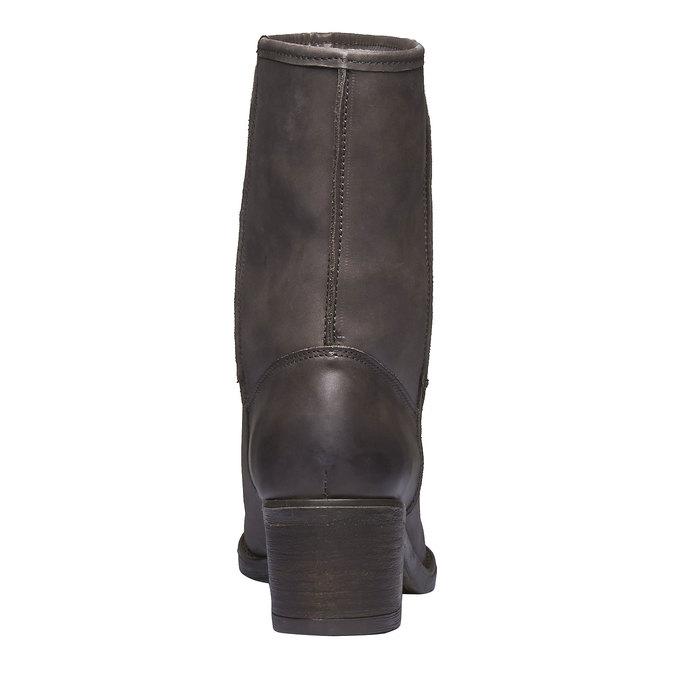 Kožené kozačky s kožíškem bata, černá, 696-6109 - 17