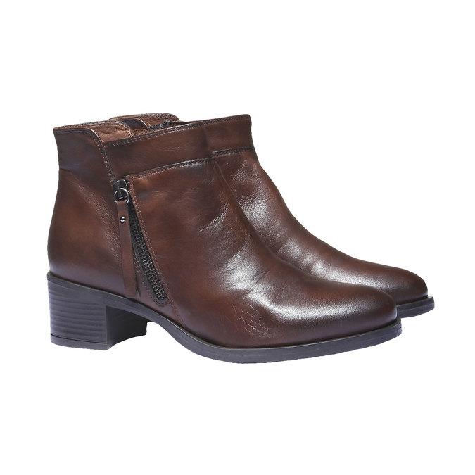 Kožená kotníčková obuv bata, hnědá, 694-4166 - 26