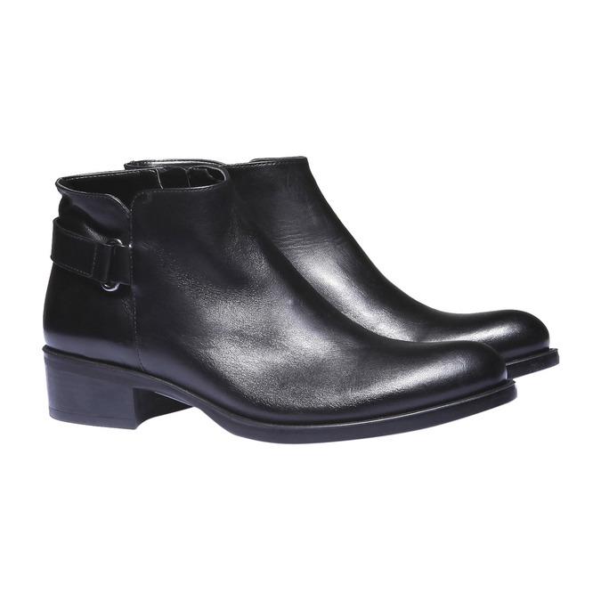 Kožené kotníkové boty s páskem bata, černá, 694-6159 - 26