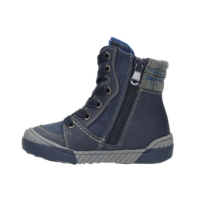 Dětská kožená obuv se zateplením bubblegummer, modrá, 116-9102 - 26