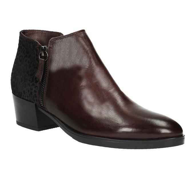 Kožená kotníčková obuv na nízkém podpatku bata, červená, 696-5613 - 13