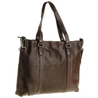 Kožená kabelka s odnímatelným popruhem bata, hnědá, 964-4132 - 13