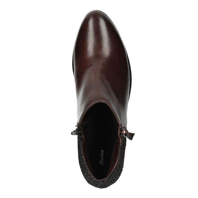 Kožená kotníčková obuv na nízkém podpatku bata, červená, 696-5613 - 19