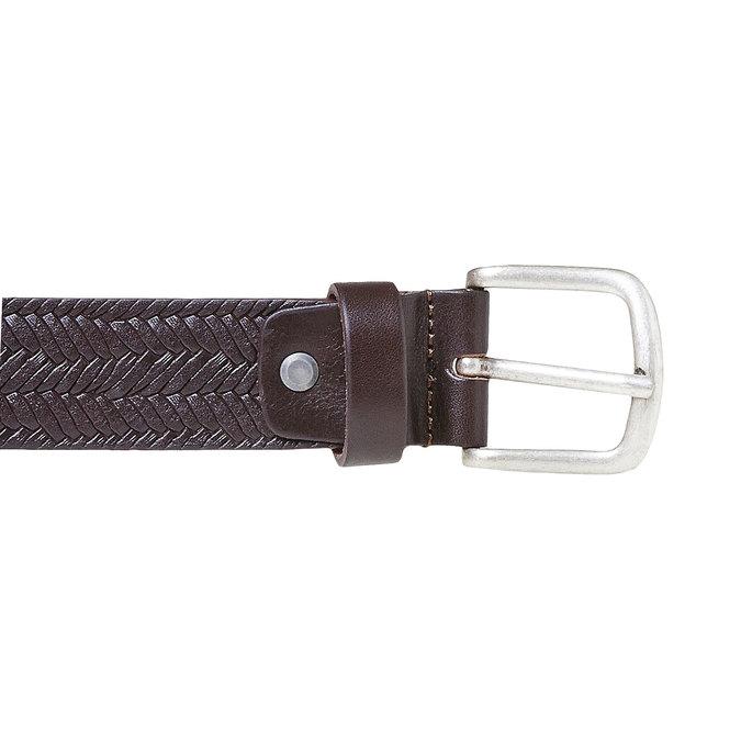 Pánský kožený opasek s propletením bata, hnědá, 954-4158 - 26