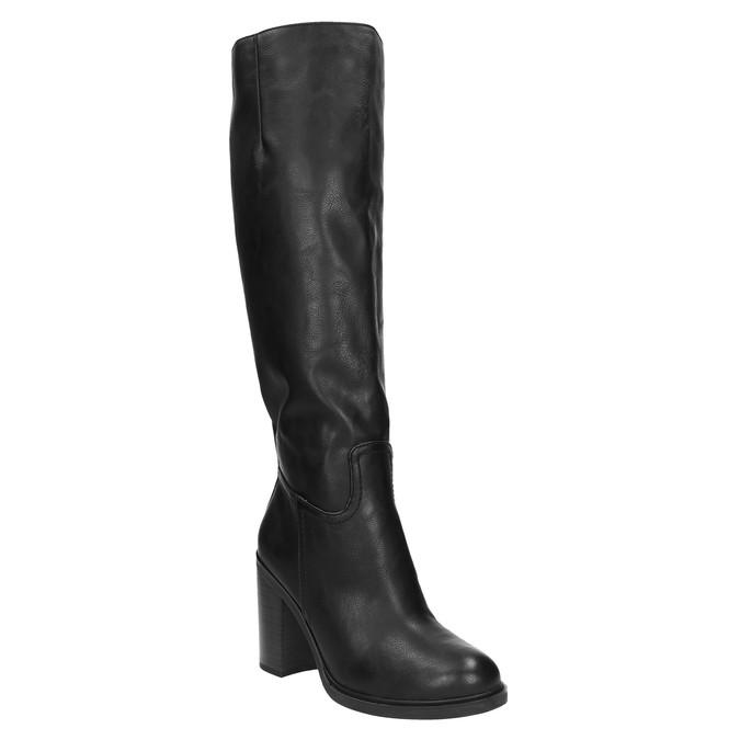 Dámské kozačky na silnějším podpatku bata, černá, 791-6612 - 13
