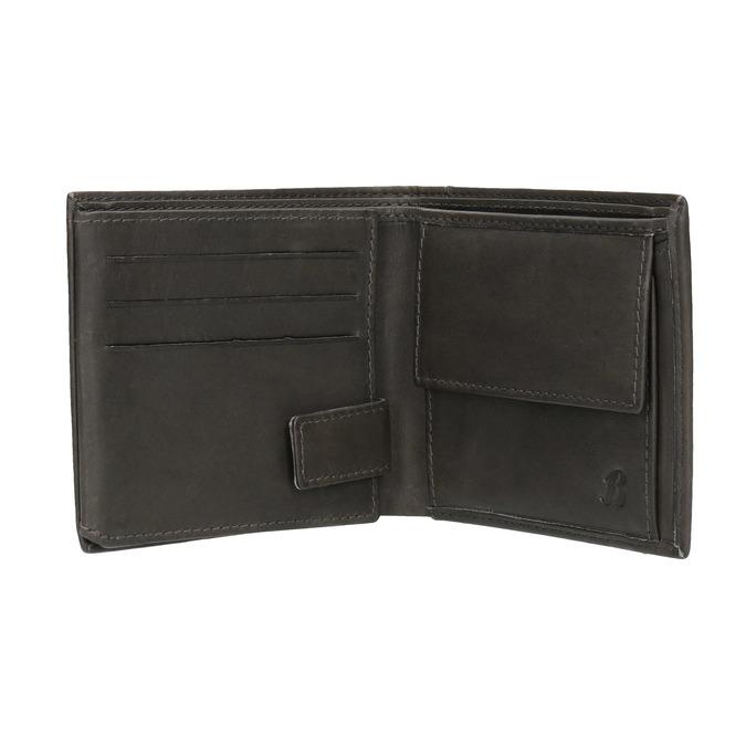 Kožená peněženka s perforací bata, černá, 944-6175 - 15