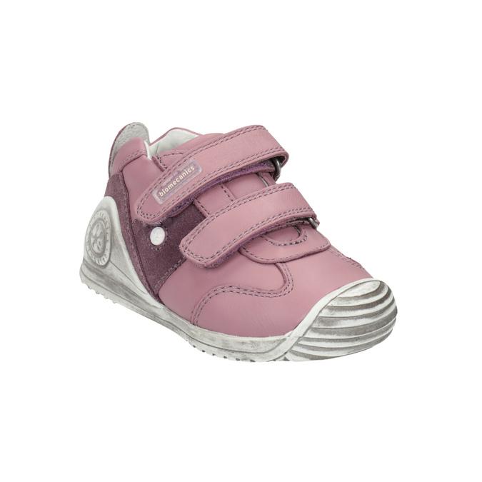 Dívčí kožená obuv na suché zipy biomecanics, růžová, 124-5006 - 13