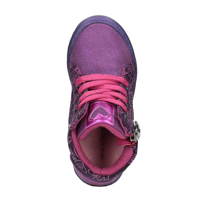 Kožené kotníčkové tenisky se srdíčky, fialová, 326-5009 - 19