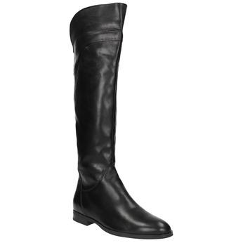 Dámské kožené kozačky ke kolenům bata, černá, 594-6605 - 13