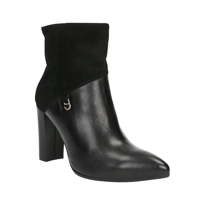 Kožená kotníčková obuv do špičky bata, černá, 794-6641 - 13