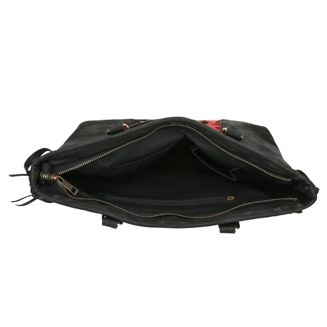Kabelka s barevným vzorem a střapci bata, černá, 961-6669 - 15