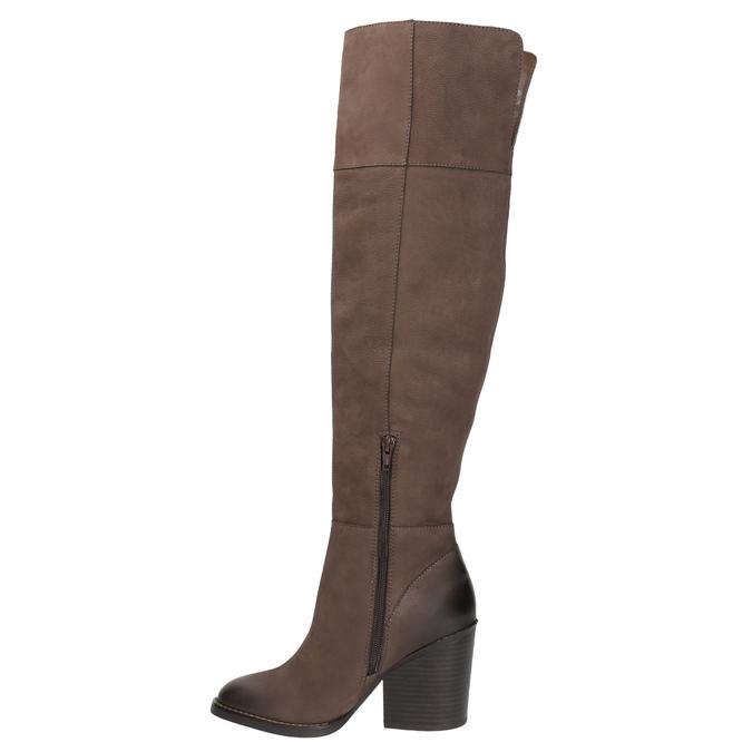 Kožené kozačky nad kolena na masivním podpatku bata, hnědá, 696-4611 - 19
