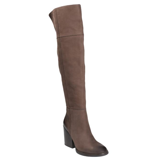Kožené kozačky nad kolena na masivním podpatku bata, hnědá, 696-4611 - 13