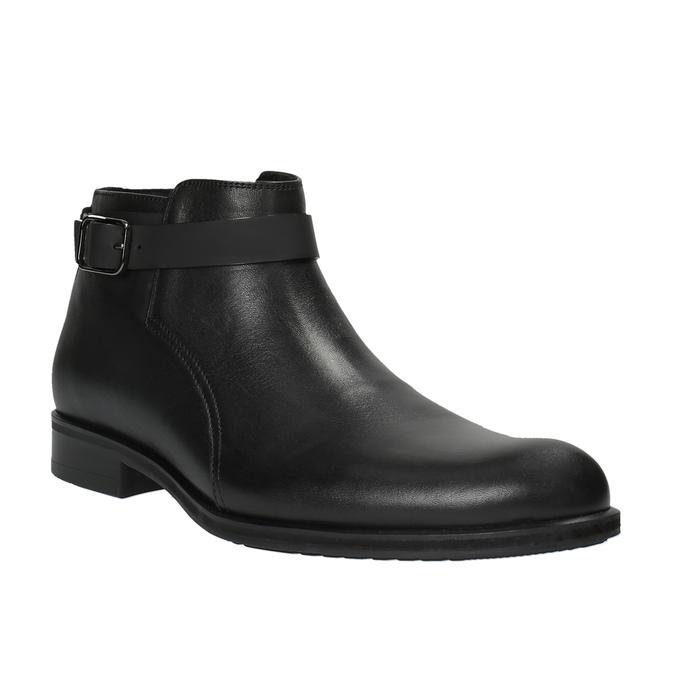 Kožená kotníčková obuv s přezkou conhpol, černá, 894-6680 - 13
