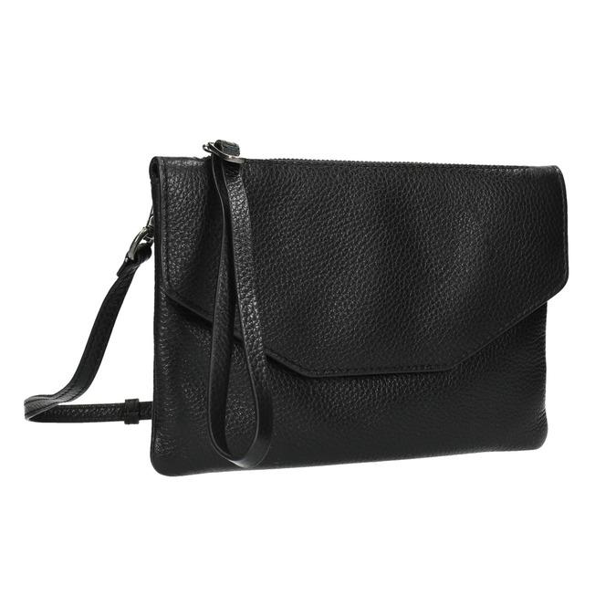 Černé kožené psaníčko s popruhem bata, černá, 964-6210 - 13