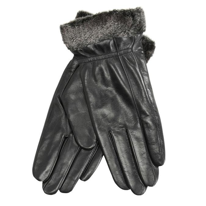 Kožené dámské rukavice s kožešinkou bata, černá, 904-6112 - 13