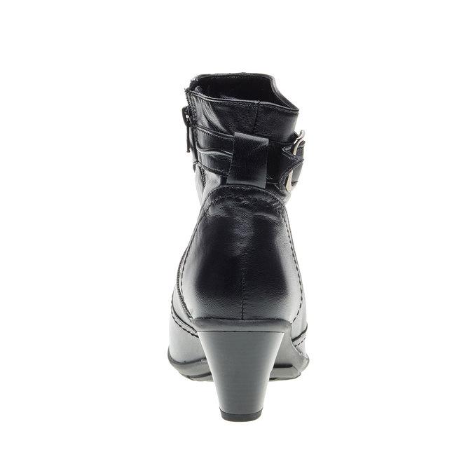 Kožená kotníčková obuv na zkoseném podpatku bata, černá, 694-6130 - 17