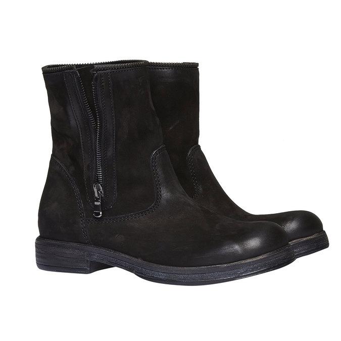 Kožené kotníkové kozačky se zipem bata, černá, 594-6535 - 26