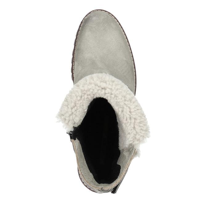 Kožená kotníčková obuv s kožíškem manas, šedá, 696-2602 - 19