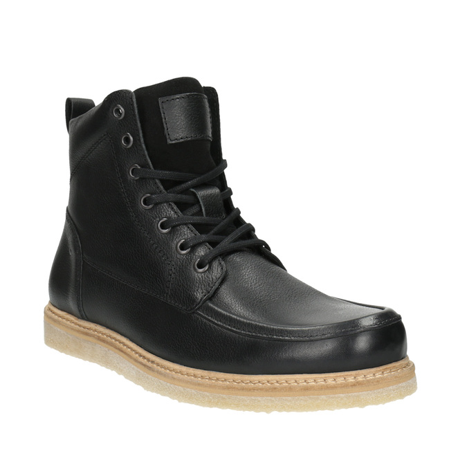 Pánská kožená kotníčková obuv bata, černá, 896-6652 - 13