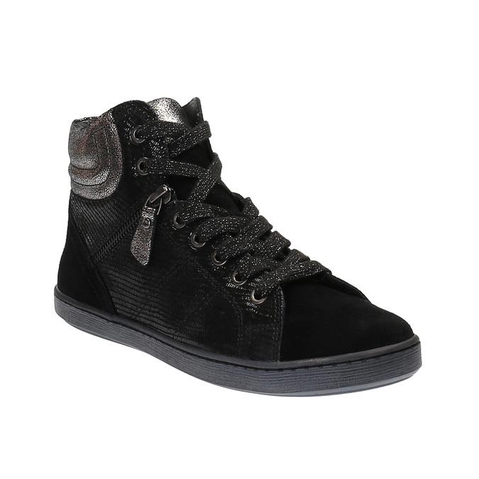 Kožené kotníčkové tenisky se stříbrnými odlesky bata, černá, 596-6613 - 13