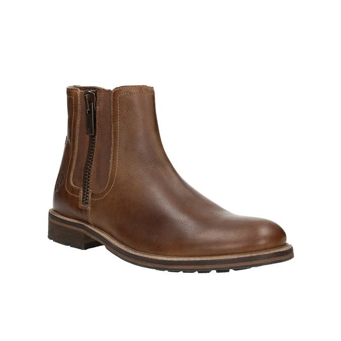 Kožená kotníčková obuv s ozdobným zipem bata, hnědá, 896-3654 - 13