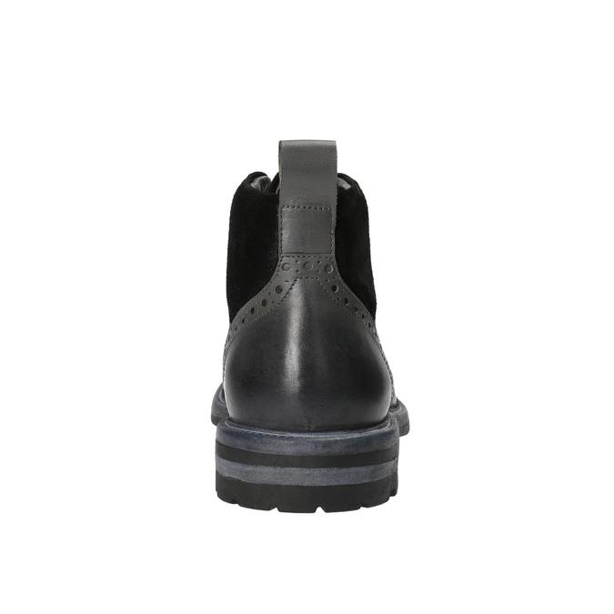 Kožená kotníčková obuv s Brogue zdobením bata, šedá, 896-2646 - 17