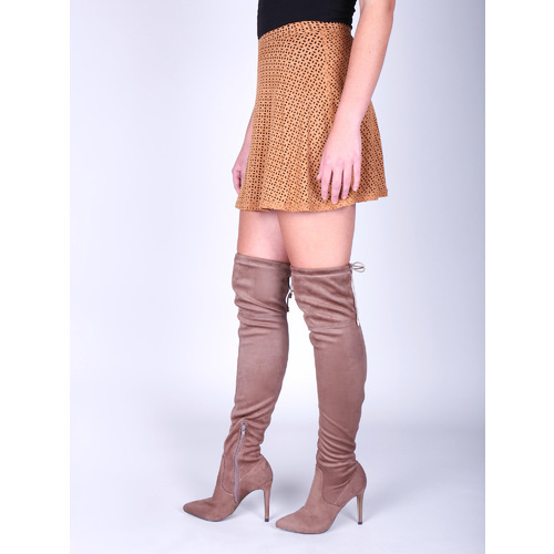 Dámské kozačky nad kolena bata, hnědá, 799-3600 - 18