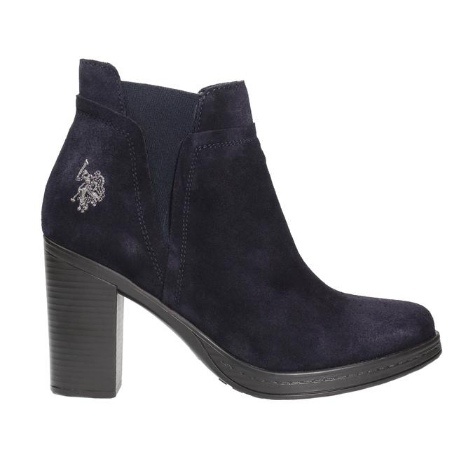 Kožená kotníčková obuv na podpatku u-s-polo-assn-, modrá, 713-9072 - 15