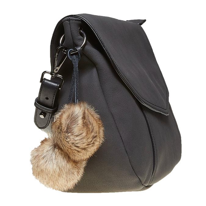 Dámská kabelka s Pom Pom ozdobou bata, černá, 961-6244 - 17
