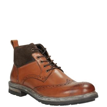 Kožená kotníčková obuv s Brogue zdobením bata, hnědá, 896-3646 - 13