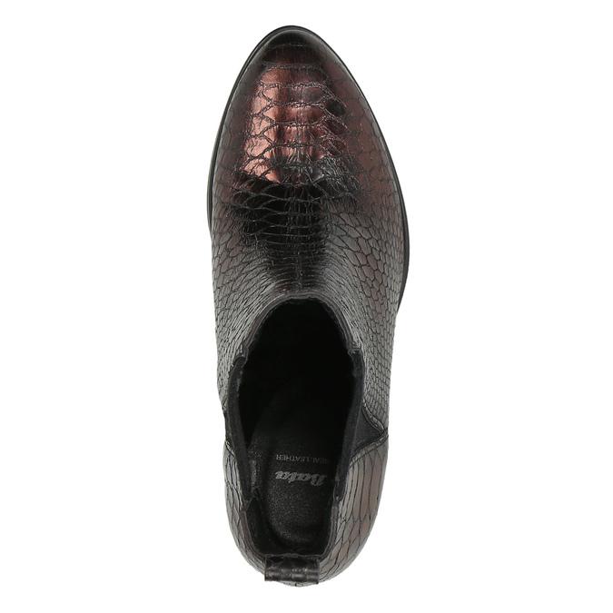 Kožené kotníčkové kozačky s pružnými boky bata, červená, 696-5635 - 19