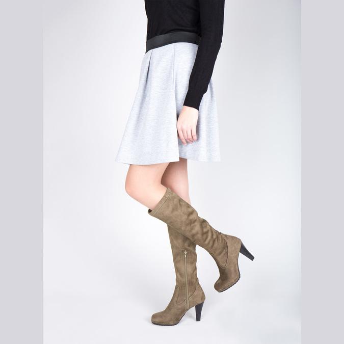 Dámské kozačky na podpatku bata, béžová, 799-2602 - 18