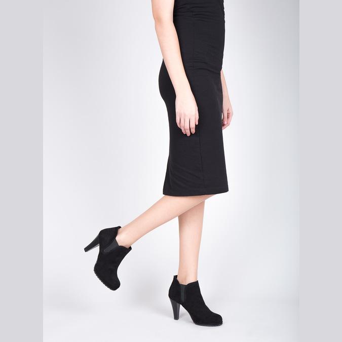 Dámská kotníčková obuv na podpatku s pružnými boky bata, černá, 799-6601 - 15