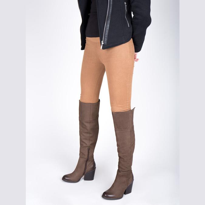 Kožené kozačky nad kolena na masivním podpatku bata, hnědá, 696-4611 - 18
