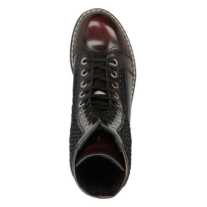 Kožená šněrovací obuv na výrazné podešvi weinbrenner, červená, 596-5635 - 19