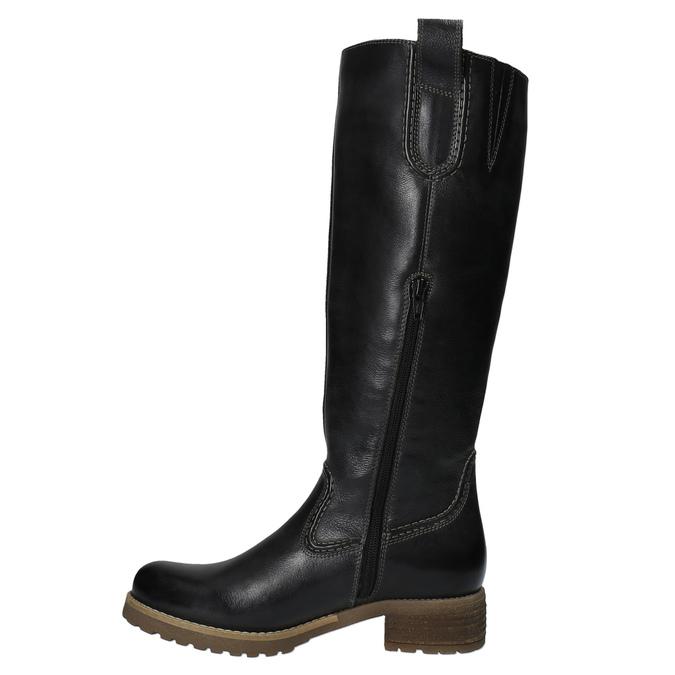 Kožené kozačky s masivní podešví bata, černá, 594-6613 - 19