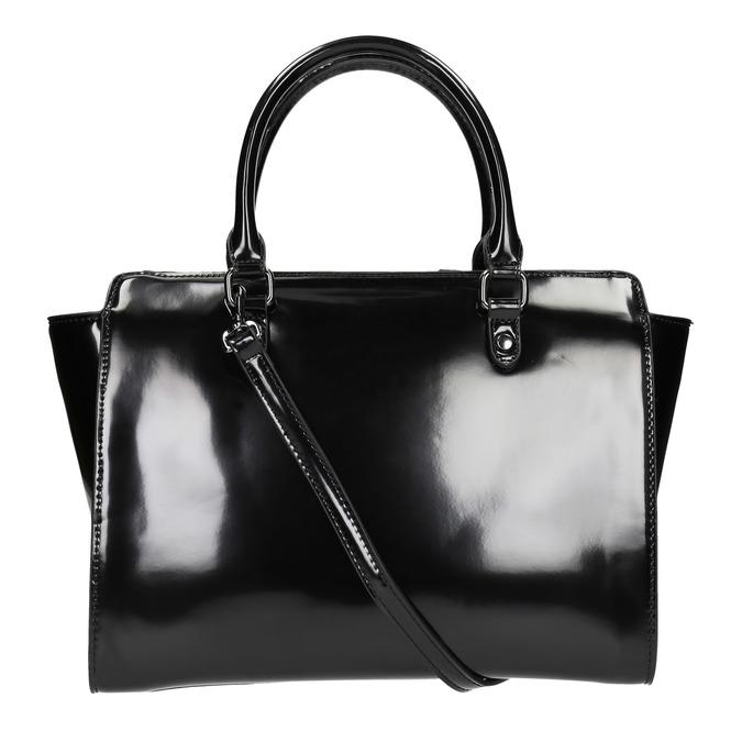 Lakovaná kabelka s prošitím bata, černá, 961-6708 - 19