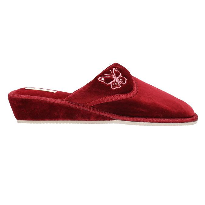 Dámská domácí obuv na klínovém podpatku bata, červená, 679-5607 - 15