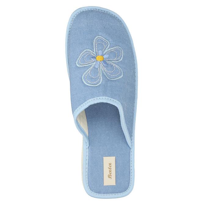 Dámská domácí obuv s kytičkou bata, modrá, 579-9605 - 19