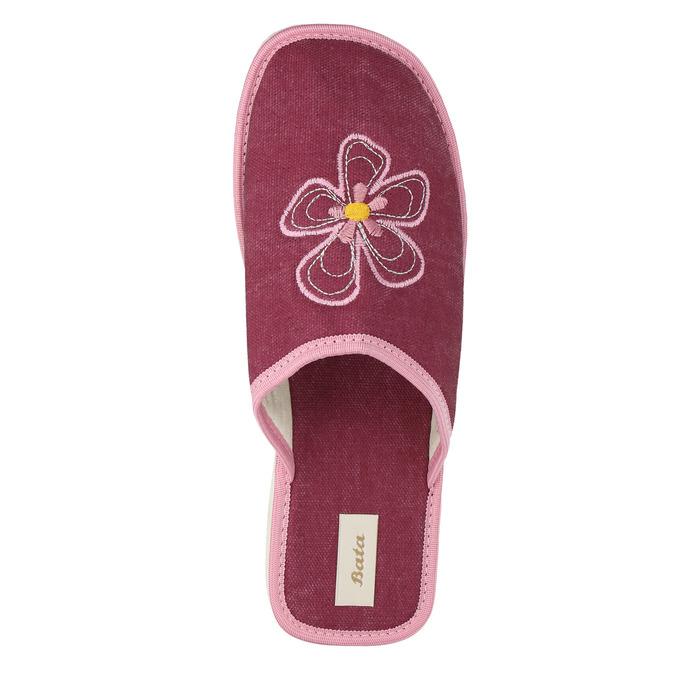 Dámská domácí obuv s kytičkou bata, červená, 579-5605 - 19