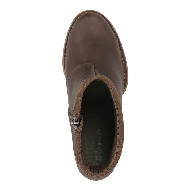 Kotníčková obuv s perforací el-naturalista, hnědá, 714-4041 - 19