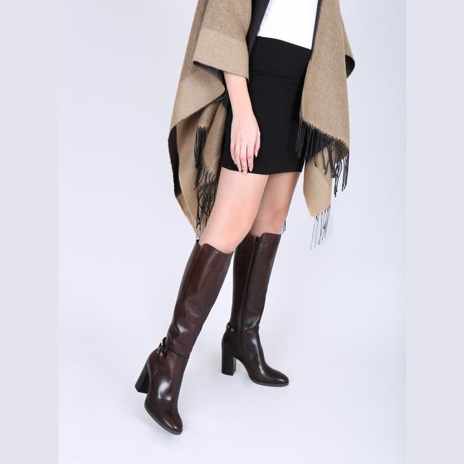 Kožené kozačky na podpatku bata, hnědá, 794-4637 - 18