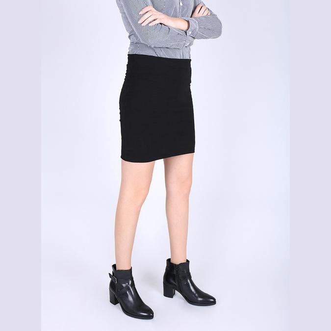 Kožená kotníčková obuv na podpatku bata, černá, 796-6609 - 18