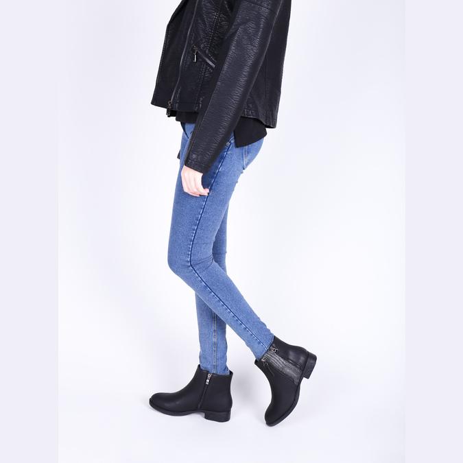 Dámská kotníčková obuv se zipy bata, černá, 591-6612 - 18