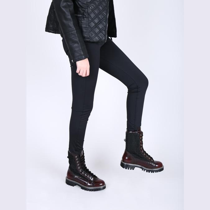 Kožená šněrovací obuv na výrazné podešvi weinbrenner, červená, 596-5635 - 18