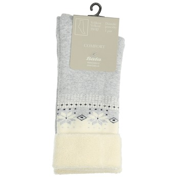 Teplé dámské ponožky bata, šedá, 919-1421 - 13