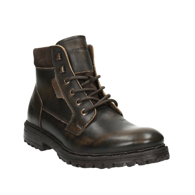 Pánská kožená kotníčková obuv weinbrenner, hnědá, 896-4110 - 13